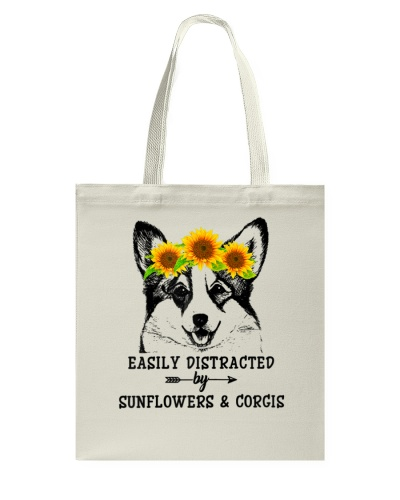 Easily Distracted By Sunflowers And Corgis