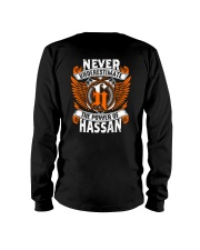 NEVER UNDERESTIMATE THE POWER OF HASSAN Long Sleeve Tee thumbnail