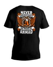 NEVER UNDERESTIMATE THE POWER OF AHMAD V-Neck T-Shirt thumbnail