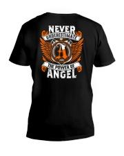 NEVER UNDERESTIMATE THE POWER OF ANGEL V-Neck T-Shirt thumbnail
