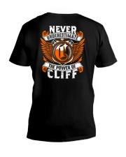 NEVER UNDERESTIMATE THE POWER OF CLIFF V-Neck T-Shirt thumbnail