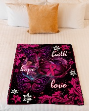 "Breast Cancer Awareness Fleece Blanket Small Fleece Blanket - 30"" x 40"" aos-coral-fleece-blanket-30x40-lifestyle-front-04"
