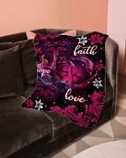"Breast Cancer Awareness Fleece Blanket Small Fleece Blanket - 30"" x 40"" aos-coral-fleece-blanket-30x40-lifestyle-front-05"