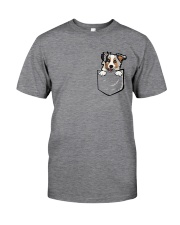 Adorable Little Australian Shepherd In The Pocket  Classic T-Shirt front
