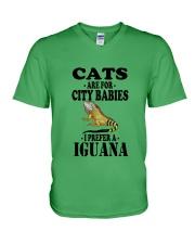 CATS ARE FOR CITY BABIES I PREFER A IGUANA V-Neck T-Shirt thumbnail