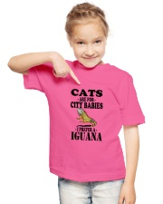 CATS ARE FOR CITY BABIES I PREFER A IGUANA Youth T-Shirt lifestyle-youth-tshirt-front-2