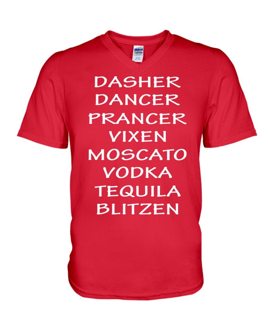 Dasher Dancer Funny Christmas V-Neck T-Shirt