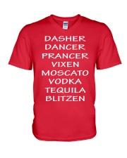 Dasher Dancer Funny Christmas V-Neck T-Shirt front