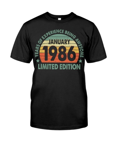 Made In January 1986 Vintage 34th T-Shirt