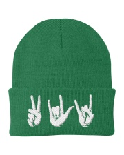 Love Peace Rock - Embroidery artwork Knit Beanie thumbnail