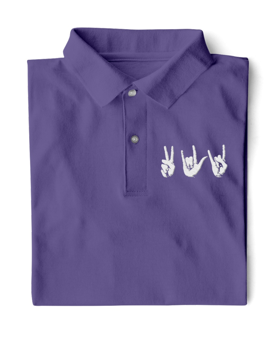 Love Peace Rock - Embroidery artwork Classic Polo