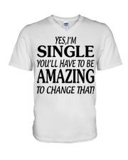 I AM SINGLE-PCC V-Neck T-Shirt thumbnail