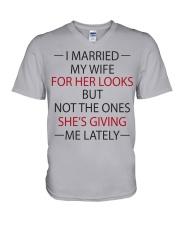 I MARRIED MY WIFE V-Neck T-Shirt thumbnail