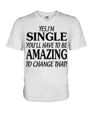 I AM SINGLE-PCC V-Neck T-Shirt thumbnail