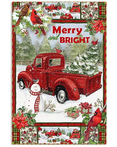 Christmas Red Truck Snowy Cardinals Poster GPN66