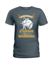 Woman who loves baseball Ladies T-Shirt tile