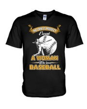 Woman who loves baseball V-Neck T-Shirt thumbnail