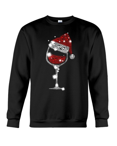 Christmas Wine Glass Red Santa Hat Diamond Glitter