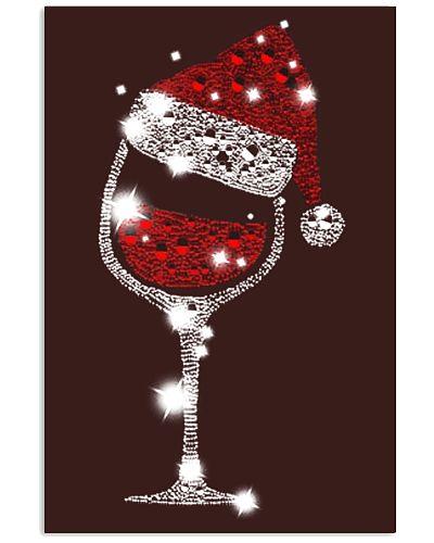 Christmas Wine Glass Red Santa Hat Diamond Glitter