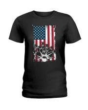 Bowling T-Shirts American Flag Special Gift  Ladies T-Shirt thumbnail