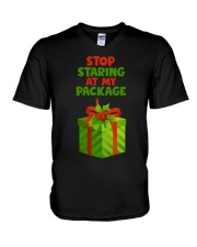 STOP STARING AT MY PACKAGE V-Neck T-Shirt thumbnail