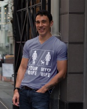 MY WIFE V-Neck T-Shirt lifestyle-mens-vneck-front-1