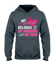 MY HEART BELONGS TO MY HUSBAND AND MY KIDS Hooded Sweatshirt thumbnail