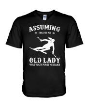Assuming I'm Just An Old Lady - Skiing V-Neck T-Shirt thumbnail