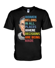 RBG Women Belong In All Places  V-Neck T-Shirt thumbnail