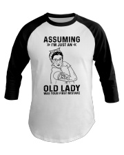 RBG Assuming Old Lady Was Your First Mistake Baseball Tee thumbnail