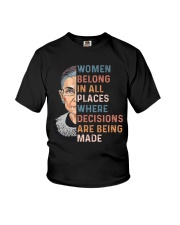 Women Belong In All Places Where Decisions - RBG Youth T-Shirt thumbnail