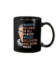 Women Belong In All Places Where Decisions - RBG Mug thumbnail