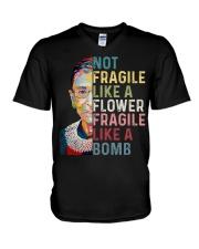 RBG Not Fragile Like A Flower Fragile Like A Bomb V-Neck T-Shirt thumbnail