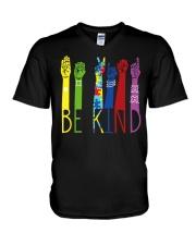 Be Kind Sign Language Color V-Neck T-Shirt thumbnail
