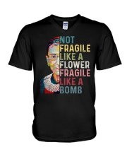 RBG Not Fragile Like A Flower Fragile Like A Bomb V-Neck T-Shirt thumbnail