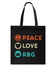 Peace Love RBG Retro Tote Bag thumbnail