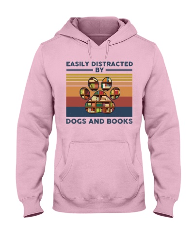 Easily Distracted By Dogs And Books Retro