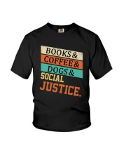 Books Coffee Dogs And Social Justice Vintage Youth T-Shirt thumbnail