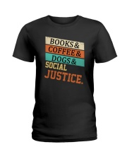 Books Coffee Dogs And Social Justice Vintage Ladies T-Shirt thumbnail