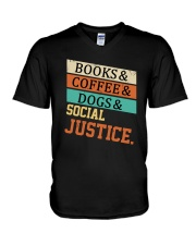 Books Coffee Dogs And Social Justice Vintage V-Neck T-Shirt thumbnail
