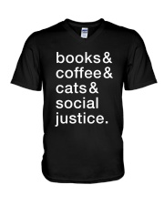 Books Coffee Dogs Social Justice V-Neck T-Shirt thumbnail