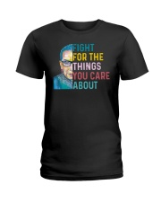 Fight for The Things You Care About Watercolor Ladies T-Shirt thumbnail