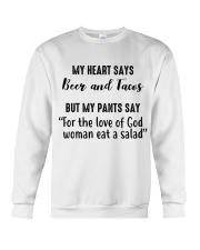 My Heart says Beer and Tacos Crewneck Sweatshirt thumbnail