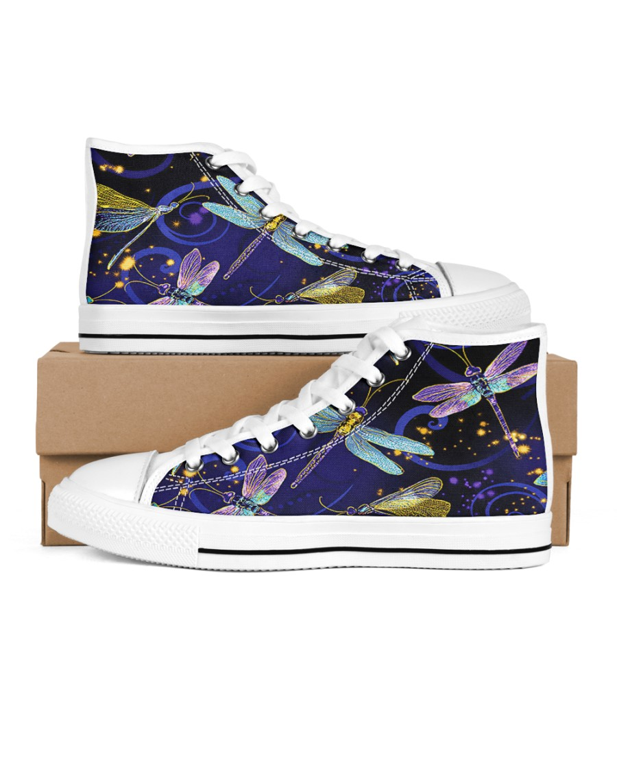 Dragonfly Shoes Women's High Top White Shoes