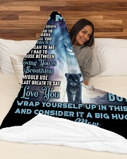 "SM002 Large Fleece Blanket - 60"" x 80"" aos-coral-fleece-blanket-60x80-lifestyle-front-03"