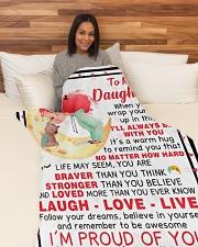 "DM009  Large Fleece Blanket - 60"" x 80"" aos-coral-fleece-blanket-60x80-lifestyle-front-05"