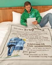 "GF011 Large Fleece Blanket - 60"" x 80"" aos-coral-fleece-blanket-60x80-lifestyle-front-06"