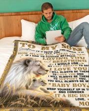 "SM001  Large Fleece Blanket - 60"" x 80"" aos-coral-fleece-blanket-60x80-lifestyle-front-06"