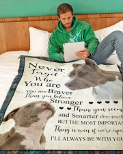 """Pit Bull - Never forget who you are Large Fleece Blanket - 60"""" x 80"""" aos-coral-fleece-blanket-60x80-lifestyle-front-06"""