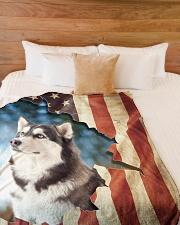 """Beautiful Siberian Husky Large Fleece Blanket - 60"""" x 80"""" aos-coral-fleece-blanket-60x80-lifestyle-front-02"""